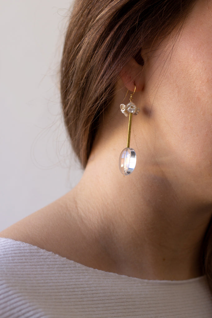 Keshi and Quartz Earrings