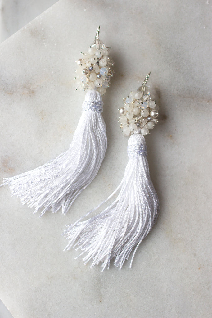 Luxe Tassel Earrings in Moonlight