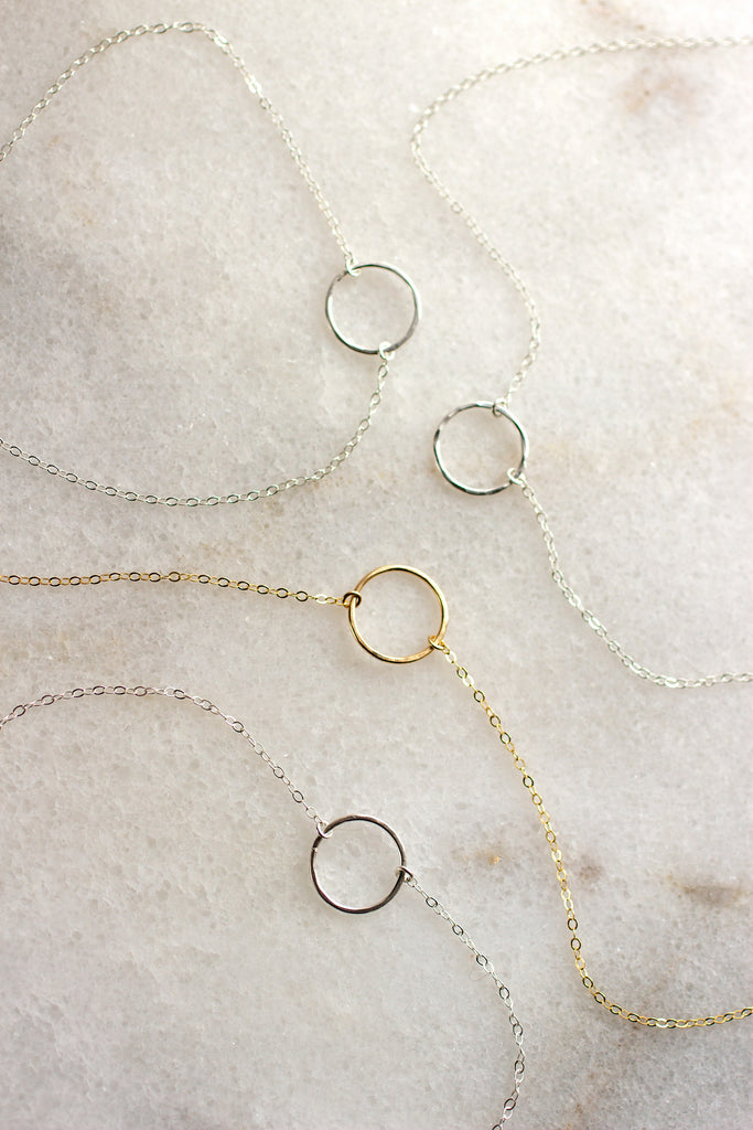 Milie Hammered Ring Necklace