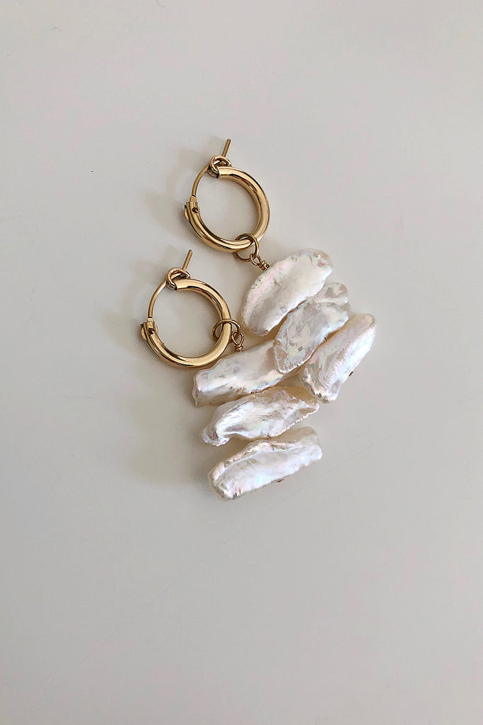 Sideways Biwa Mini Hoop Earrings