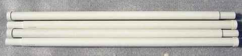 UNUSED White Surplus 4' Heavy Duty Fiberglass Mast Sections - Ring on Female End of Mast - Lot of 4