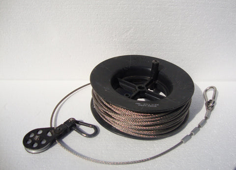 "USED SURPLUS MIL-SPEC 104FT REEL OF STAINLESS STEEL 3/16"" GUY CABLE WITH PULLEY + SPRING CLIPS"