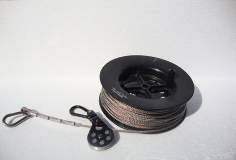 "USED SURPLUS MIL-SPEC 108FT REEL OF STAINLESS STEEL 3/16"" GUY CABLE WITH PULLEY + SPRING CLIPS"