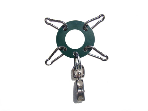 "Heavy Duty 1/8th""  Steel - Antenna Guy Ring w/ 4 Stainless Steel Clips + Zinc Plated Pulley - Green FREE SHIPPING WITHIN THE U.S.!"