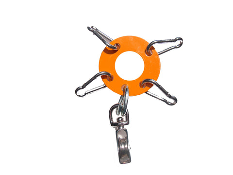 "Heavy Duty 1/8th""  Steel - Antenna Guy Ring w/ 4 stainless Steel Clips + Zinc Plated Pulley - Orange FREE SHIPPING WITHIN THE U.S.!"