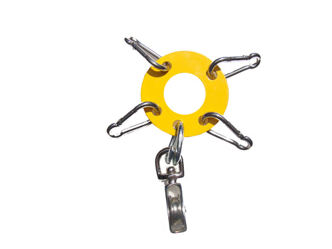 "Heavy Duty 1/8th""  Steel - Antenna Guy Ring w/ 4 Stainless Steel Clips + Zinc Plated Pulley - Yellow FREE SHIPPING WITHIN THE U.S.!"