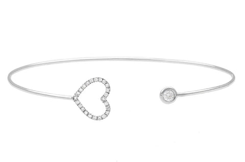 Vahina Tahi Paris - PASSION Bangle white gold large diamond heart and one diamond - size 15