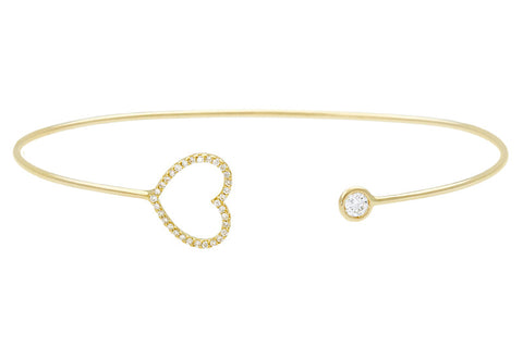 Vahina Tahi Paris - PASSION Bangle yellow gold large diamond heart and one diamond - size 15