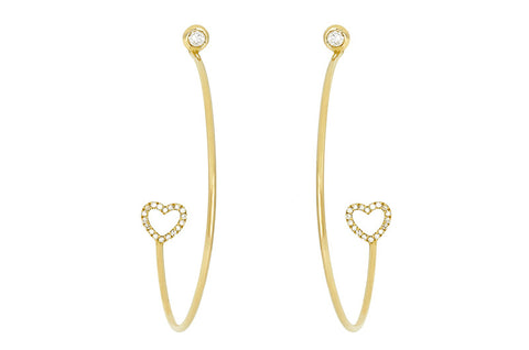 Vahina Tahi Paris - PASSION Hoops yellow gold small diamond hearts and diamonds -