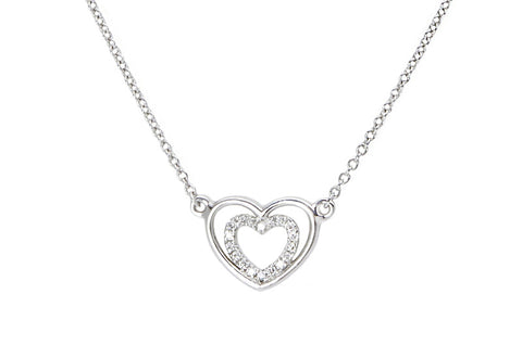 PASSION <br />Necklace white gold two hearts and one diamond