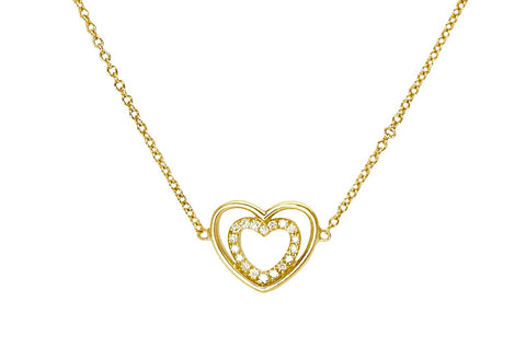 PASSION <br />Necklace yellow gold two hearts and one diamond