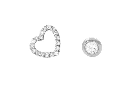 Vahina Tahi Paris - PASSION Studs white gold small diamond heart and one diamond -