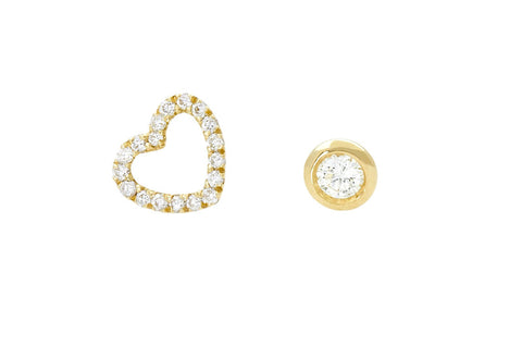 Vahina Tahi Paris - PASSION Studs yellow gold small diamond heart and one diamond -