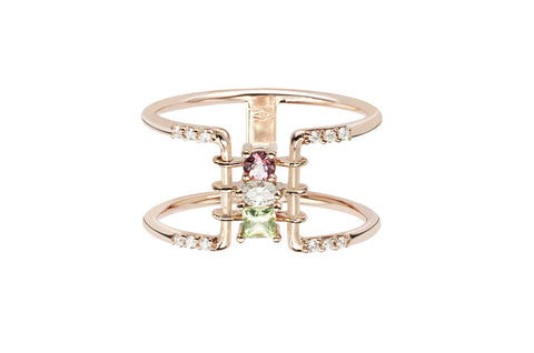 Vahina Tahi Paris - RAINBOW pink gold ring- size 56