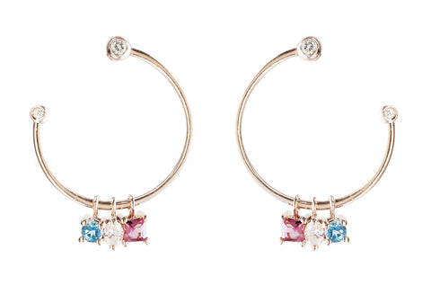Vahina Tahi Paris - RAINBOW pink gold hoop earrings