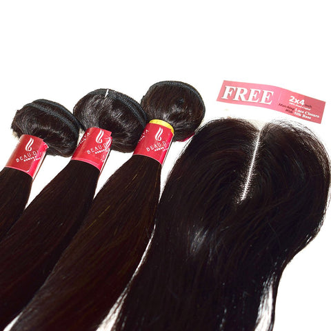 Brazilian Weaves Special Beau-Diva 8A Free Closure Value Pack Hotdot