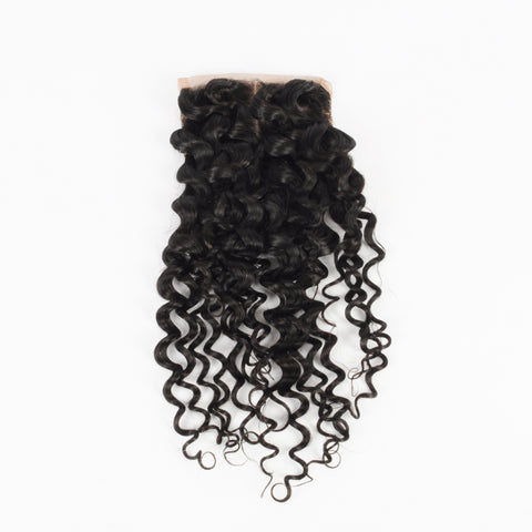 "Beau-Diva 9A Human Brazilian Hair Kinky 4X4 Closure 10""-14""inch Black SKU HH CLOSURE 3PART KINKY CURL"