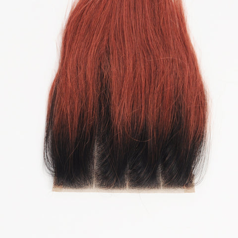 Brazilian 4X4 Straight 12A Closure Three Parts Color SKU STWCL T1B