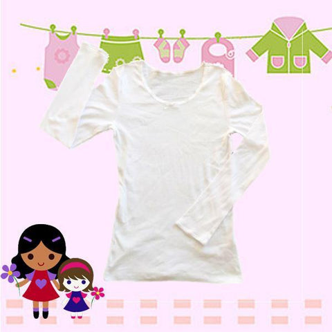 Pink Angel Girl's Long Sleeve Vest White SKU GLV002PA