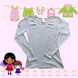 Bodyline Girl Long Sleeve Vest  Grey SKU BLV001