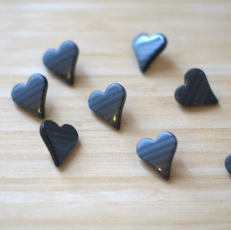 Graphite Grey Striped Heart Shaped Vintage Lucite Buttons