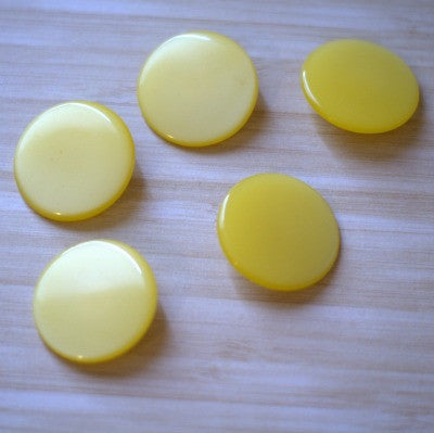 Extra Large Round Yellow Moonlow Vintage Lucite Buttons