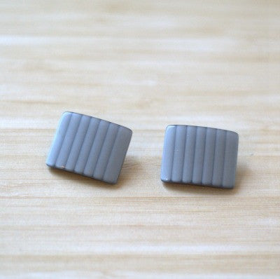 Silver Grey Striped Square Vintage Lucite Buttons
