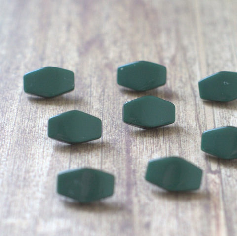 Forest Green Moonglow Hexagon Vintage Lucite Buttons