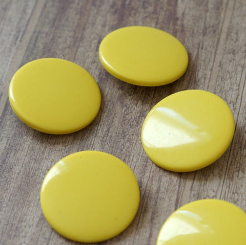 Opaque Greasy Yellow Giant Round Vintage Lucite Buttons