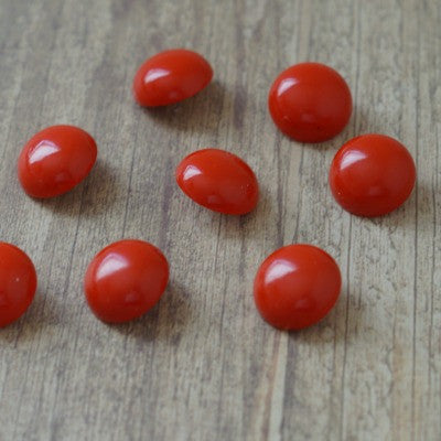 Tomato Red Round Vintage Lucite Buttons - 18mm