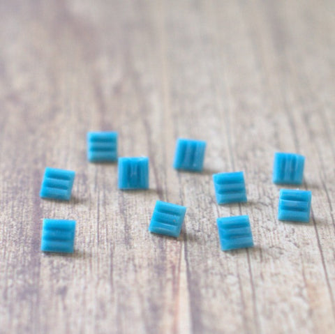 Powder Blue Ribbed Square Vintage Glass Buttons