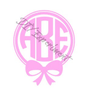 Small Bow Frame Monogram Vinyl Decal
