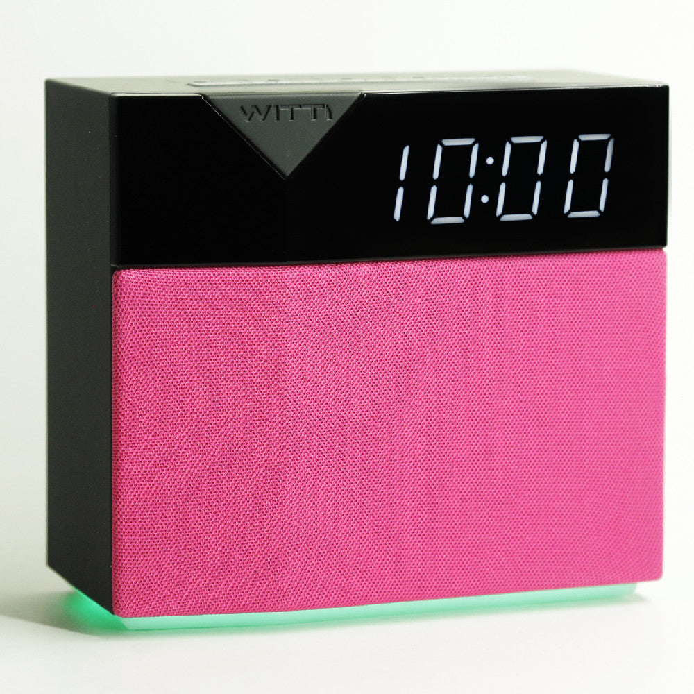 BEDDI STYLE - Alarm Clock and speaker with Changeable Faceplate - Pink