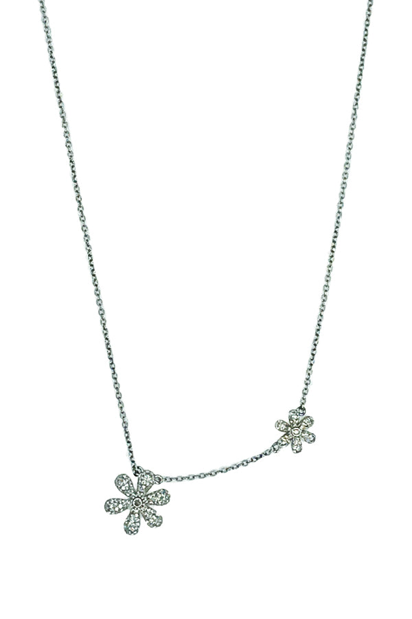 Oxidized Silver Double Diamond Flower Necklace