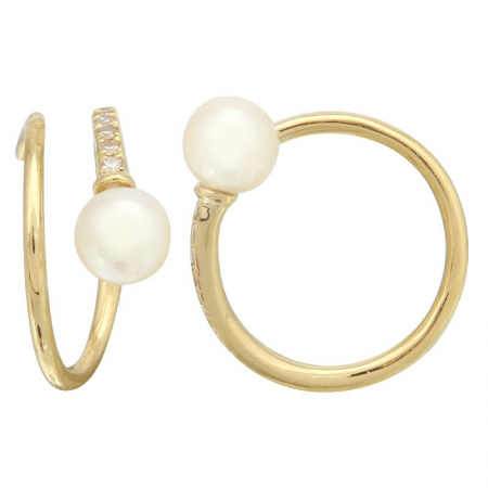 Yellow Gold Diamond & Pearl Double Swirl Earring