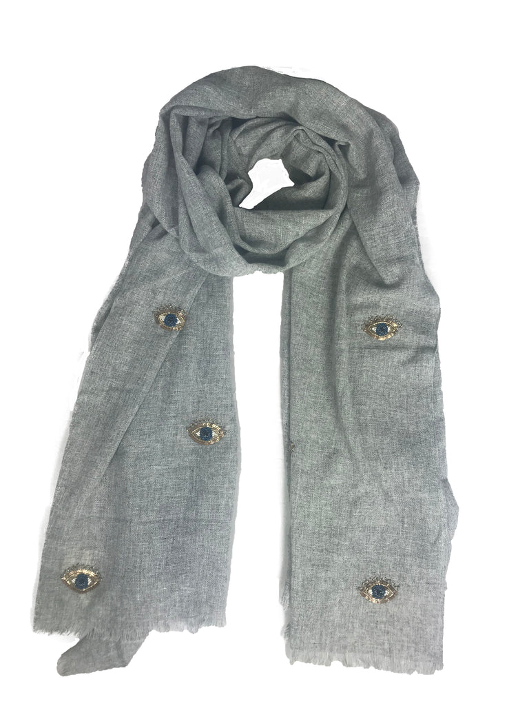 Grey Crystal Evil Eye Scarf