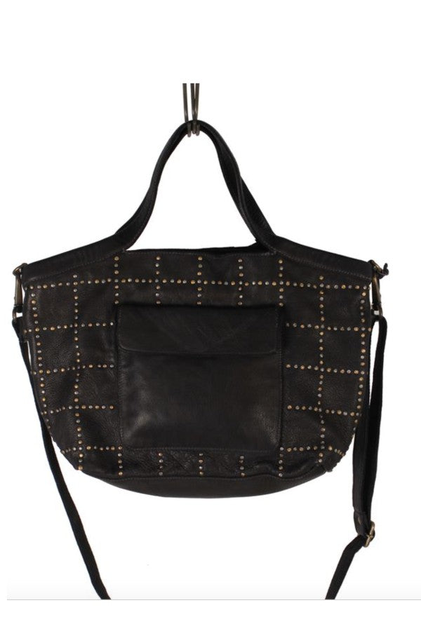 Studded Black Leather Bag