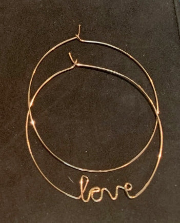 'Love' Wire-wrap Hoops