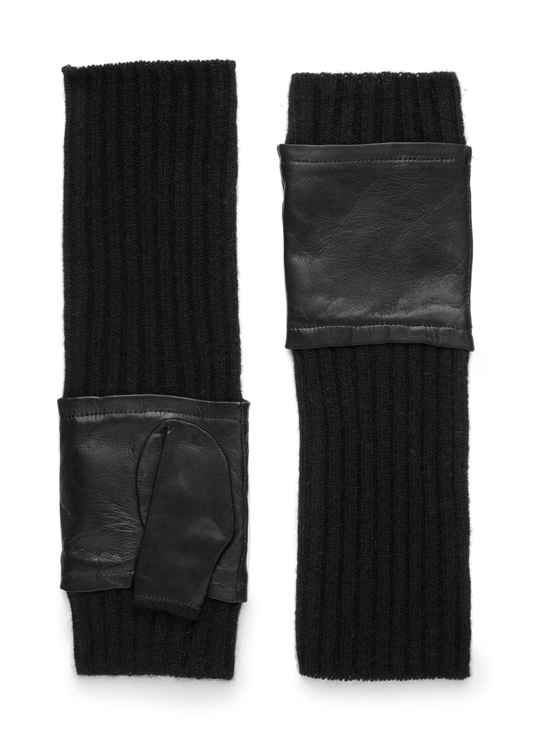 Black/Leather Fingerless Glove