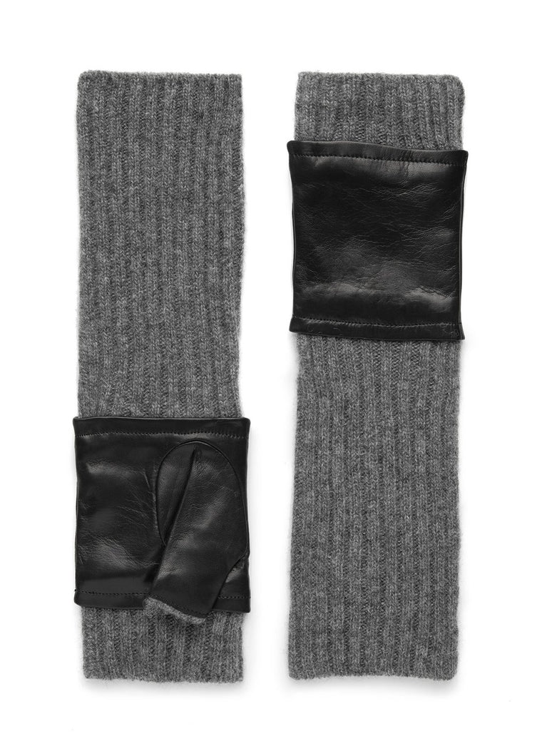Grey/Leather Fingerless Glove
