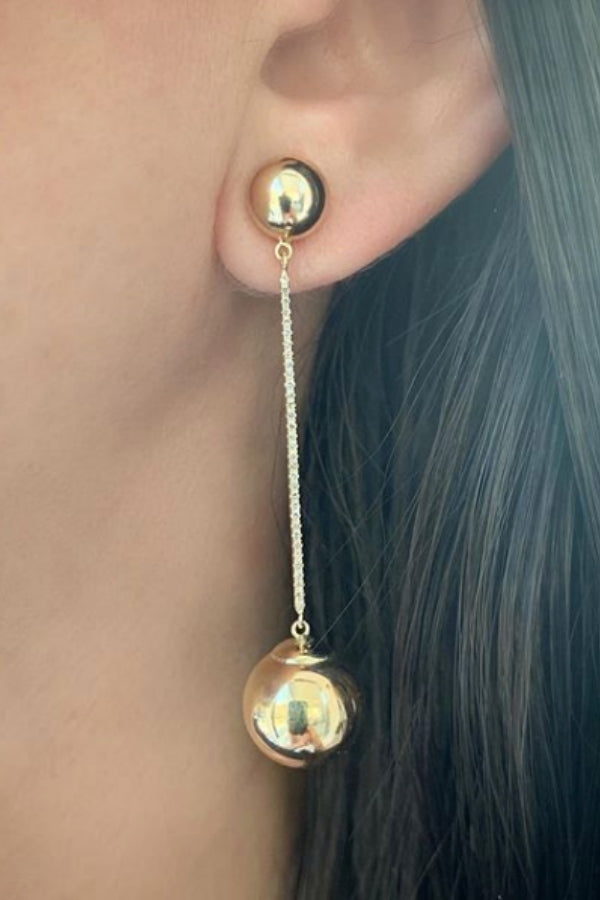 Ball and Diamond Stick Drop Earrings