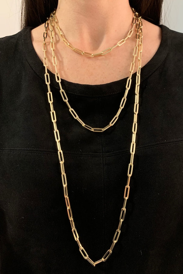 "Gold Link Chain Necklaces 14""-36"""