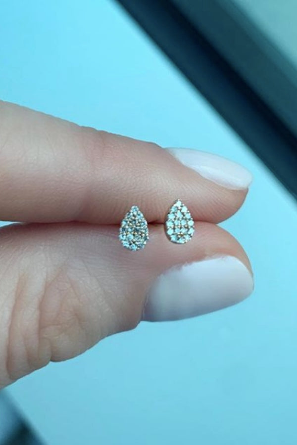 Gold Mini Diamond Teardrop Earring