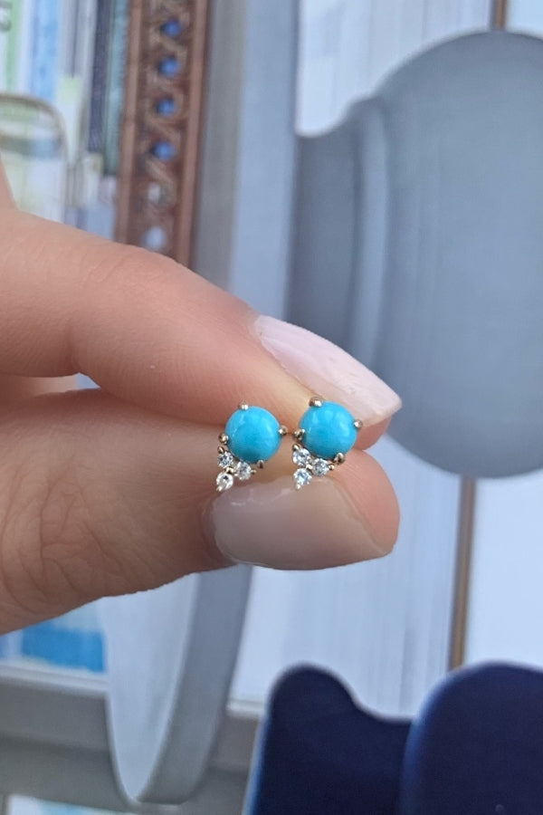 Gold Turquoise and Diamond Earring