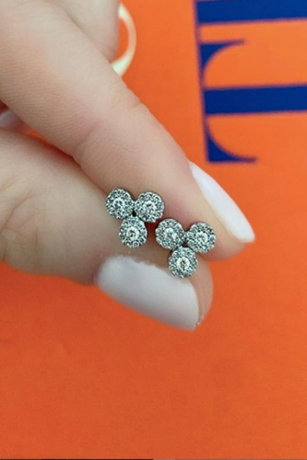 Silver Diamond Trio Stud