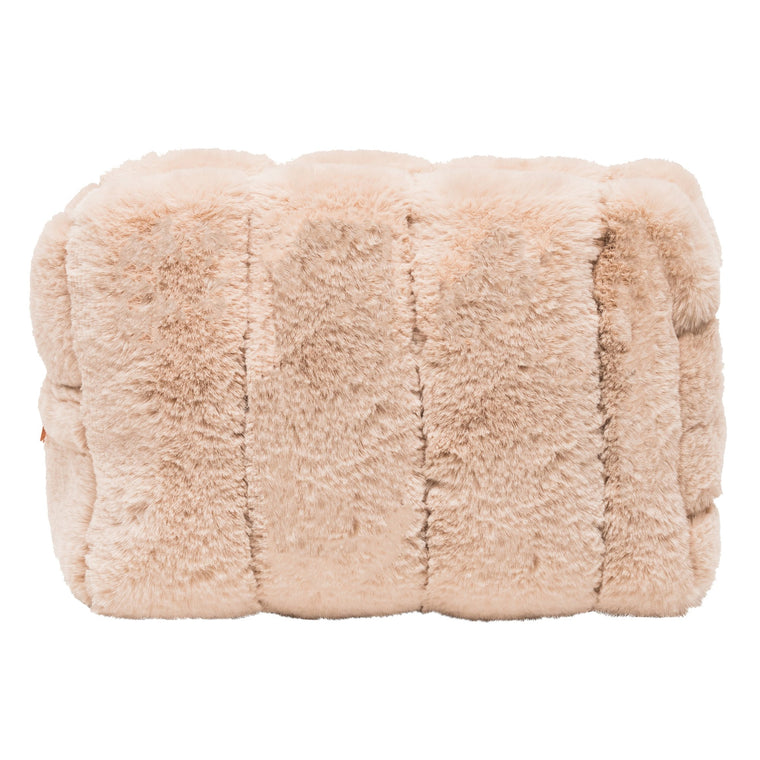 Faux Fur Ivory Cosmetic Case