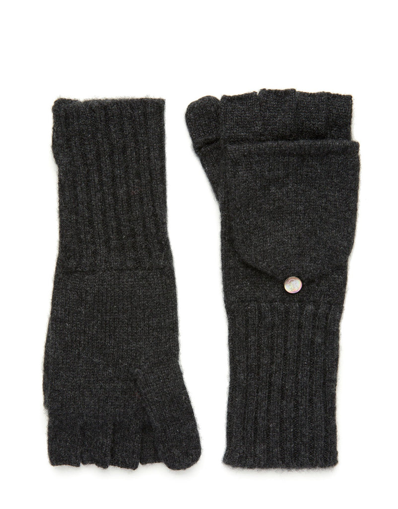Carolina Amato Charcoal Cashmere Pop Top Gloves/Mittens