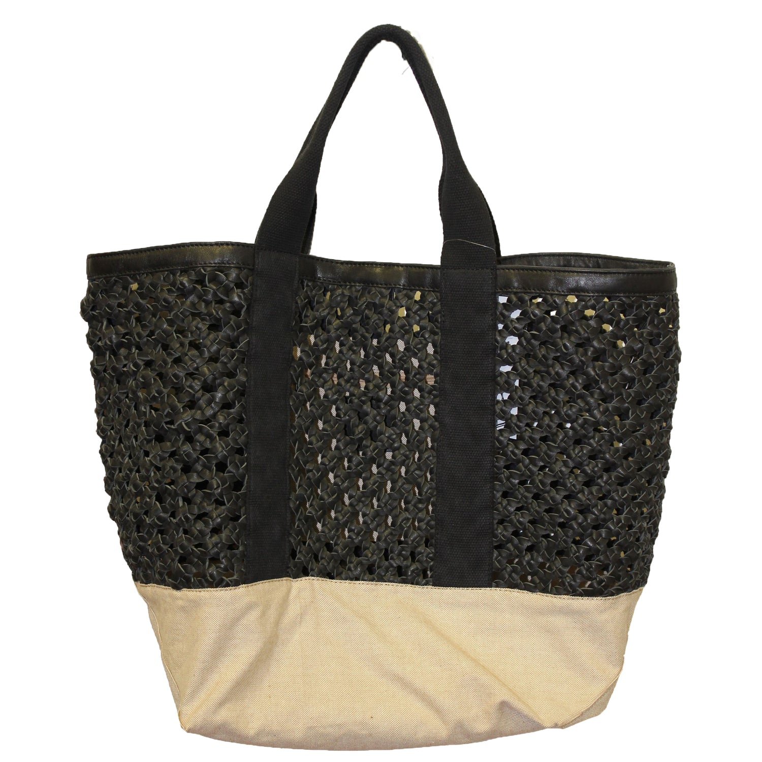 Black Woven Leather & Canvas Tote