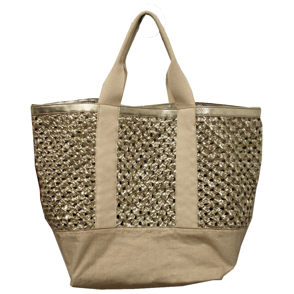 Gold Woven Leather & Canvas Tote