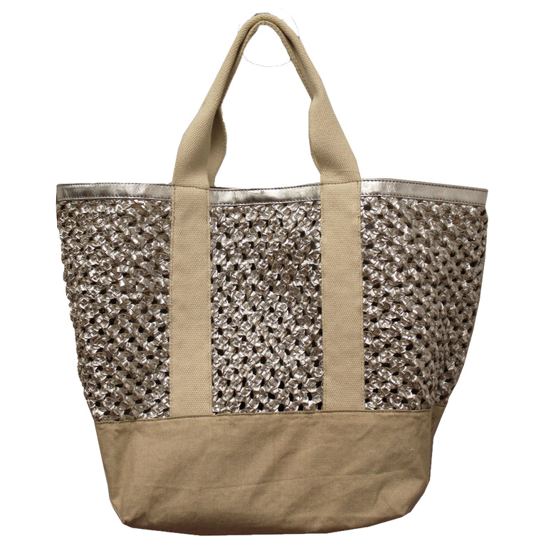 Silver Woven Leather & Canvas Tote